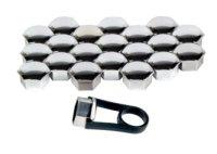 17MM WHEEL NUT CAP CHROME UNIVERSAL 20 PCS + REMOVAL TOOL (20PCS)