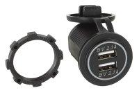 DUAL USB CAR CHARGER 12V / 24V 4.2A / BLUE (BULK) (1PCS)