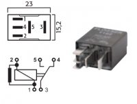 MICRO SWITCH RELAY 12V 15 / 25A WITH RESISTOR (1PC)