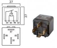 MINI CONTACT MAKE RELAY 12V 30A WITH RESISTOR 4 POLES (1 PC)