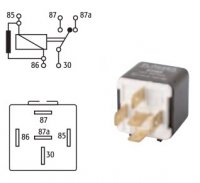 MINI SWITCH RELAY 12V 20 / 30A WITH RESISTOR 5 POLES (1PC)