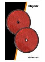 REFLECTOR RED 80MM SCREW FASTENING (2PC)