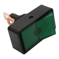 SWITCH RECHTANGULAR, ROUND HOLE GREEN (1PC)